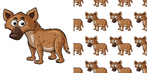 Seamless pattern with cute hyena