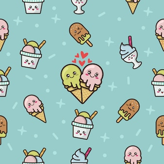 Seamless pattern with cute ice cream character