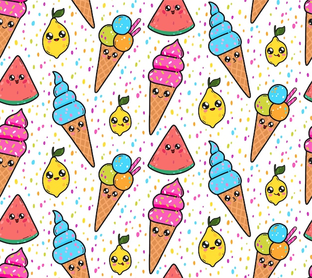 Seamless pattern with cute ice creams, lemons, and watermelons in japan kawaii style. happy cartoon characters with funny faces illustration.
