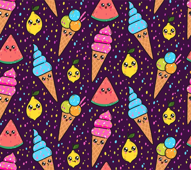 Seamless pattern with cute ice creams, lemons, and watermelons in japan kawaii style.
