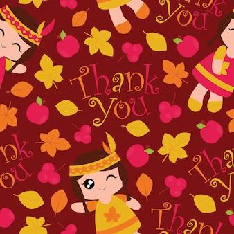 Бесшовный фон с милыми индийскими девушками, яблоками и кленовыми листьями на красном фоне векторный мультфильм, подходящий для дизайна благодарных обоев, лома бумаги и одежды для детской ткани