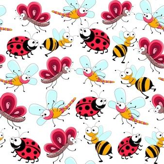かわいい虫とのシームレスパターン。