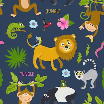 Seamless pattern with cute jungle animals