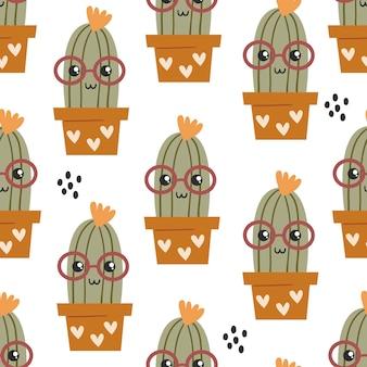 Бесшовный фон с милыми кактусами каваи