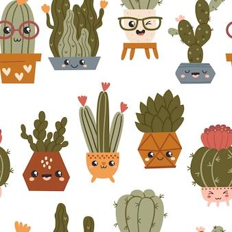 Бесшовный фон с милыми кактусами каваи и суккулентами. текстура для текстиля, упаковки, оберточной бумаги