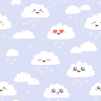 かわいいカワイイ雲とのシームレスなパターン。紫の雪片とシンプルな雲の幸せなキャラクター