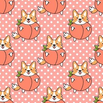 Бесшовный фон с милой каваи собакой породы вельш-корги в забавном костюме фруктовый персик