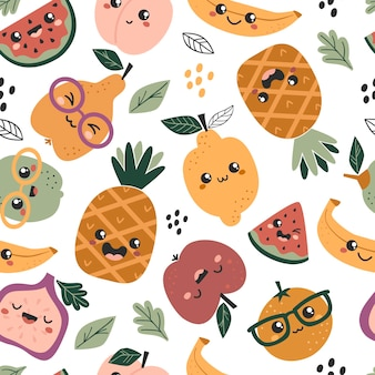 かわいいカワイイフルーツとのシームレスなパターン。テキスタイル、包装、包装紙のテクスチャ