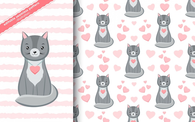 Seamless pattern with cute kawaii grey kittens with pink hearts in cartoon style. hand drawn valentine's day texture.