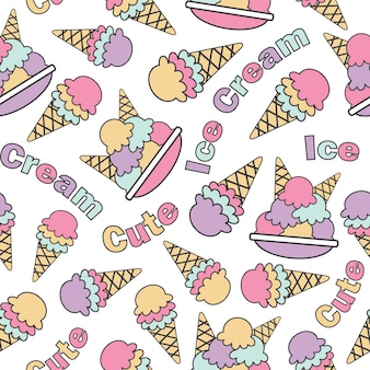 Seamless pattern with cute kawaii ice creams vector cartoon suitable for kid birthday wallpaper design, scrap paper and kid fabric clothes background