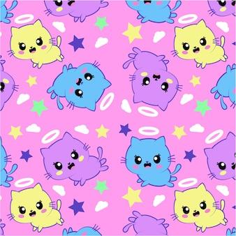 Seamless pattern with cute kawaii kittens