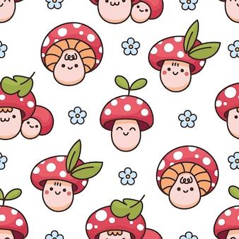 귀여운 카와이 버섯 아마니타 잎 데이지와 원활한 패턴