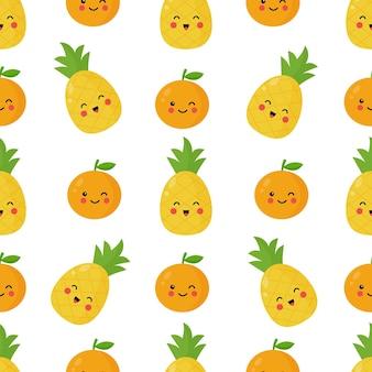 Seamless pattern with cute kawaii pineapple and orange fruits.