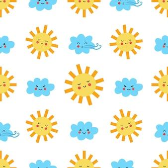 かわいいかわいい太陽と雲とのシームレスなパターン