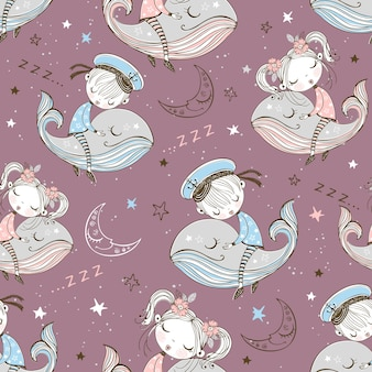 Seamless pattern with cute kids sleeping on whales