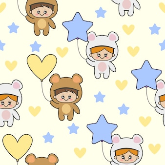 Seamless pattern with cute kids wearing a bear costumes