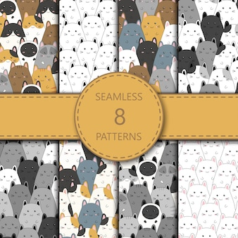 Seamless pattern with cute kitten family cartoon,  illustration