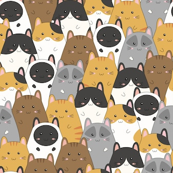 Seamless pattern with cute kitten family cartoon, vector illustration