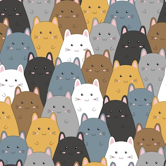Seamless pattern with cute kitten family cartoon