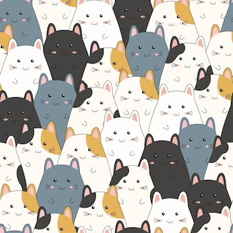 Seamless pattern with cute kitten family cartoon.