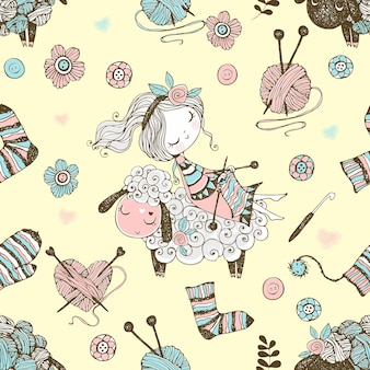Seamless pattern with a cute knitter girl and a little sheep on the theme of knitting. vector.