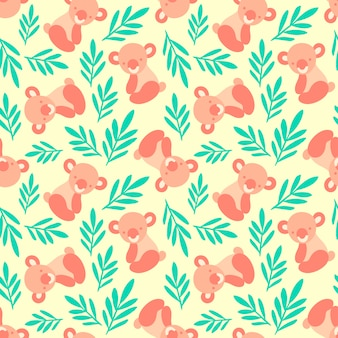 Seamless pattern with cute koala bears and leaves.