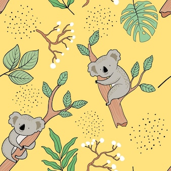 Seamless pattern with cute koala.