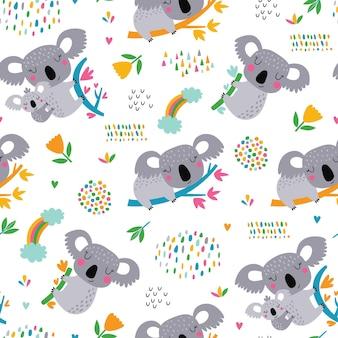かわいいコアラとのシームレスなパターン。