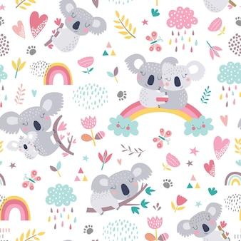 かわいいコアラとのシームレスなパターン