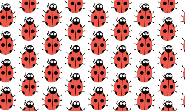 Seamless pattern with cute ladybugs with funny eyes