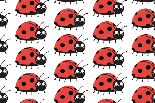 Seamless pattern with cute ladybugs with funny surprised eyes.