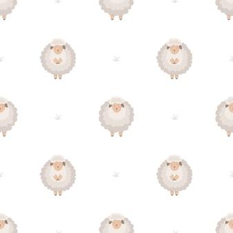 かわいい子羊とのシームレスなパターン。