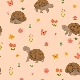 귀여운 육지 거북이와 함께 완벽 한 패턴입니다. 벡터 그래픽입니다.