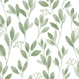 Seamless pattern with cute leaves on white background.