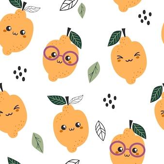かわいいレモンとのシームレスなパターン。テキスタイル、包装、包装紙のテクスチャ