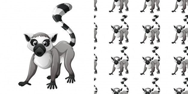 Seamless pattern with cute lemur