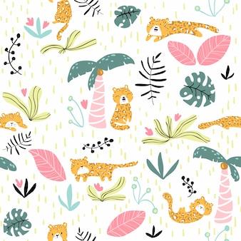 かわいいヒョウと熱帯植物とのシームレスなパターン。子供服、布地、テキスタイル、壁紙、背景に最適なスカンジナビアスタイルの保育園のテクスチャ