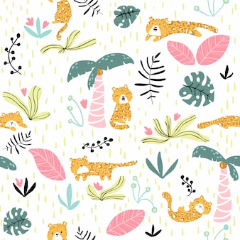 Seamless pattern with cute leopard and tropical plants. nursery texture in scandinavian style great for children's clothes, fabric, textile, wallpapers, backgrounds