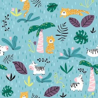 Seamless pattern with cute leopard and zebra