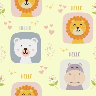 Seamless pattern with cute lion, bear, and hippo character