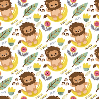 Seamless pattern with cute lion and flowers