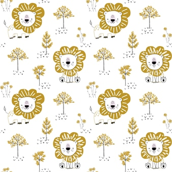 Seamless pattern with cute lion and trees on white background vector hand drawn illustration