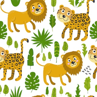 Seamless pattern with cute lions and leopards