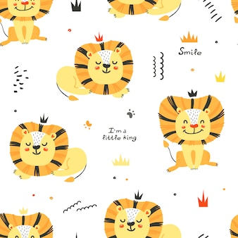 Seamless pattern with cute lions.