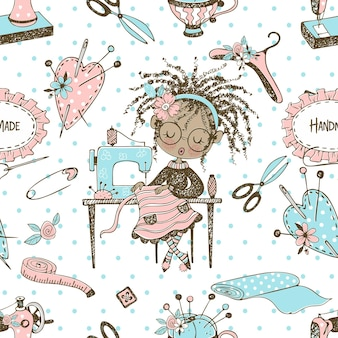 Seamless pattern with cute little black-skinned dressmaker and sewing accessories