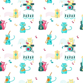 Seamless pattern with cute little cats playing musical instruments and singing.