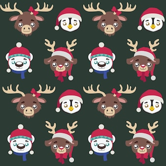 Seamless pattern with cute little christmas animals