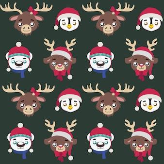 かわいい小さなクリスマスの動物とシームレスなパターン
