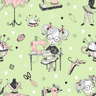 Seamless pattern with cute little dressmaker and sewing accessories.
