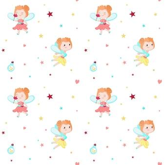 かわいい妖精とのシームレスなパターン